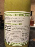 Soupe Bio Petits Pois, Concombre, Menthe - Ingredienti - fr