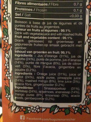 Orange carotte ananas mangue gingembre citron vert - Ingredients