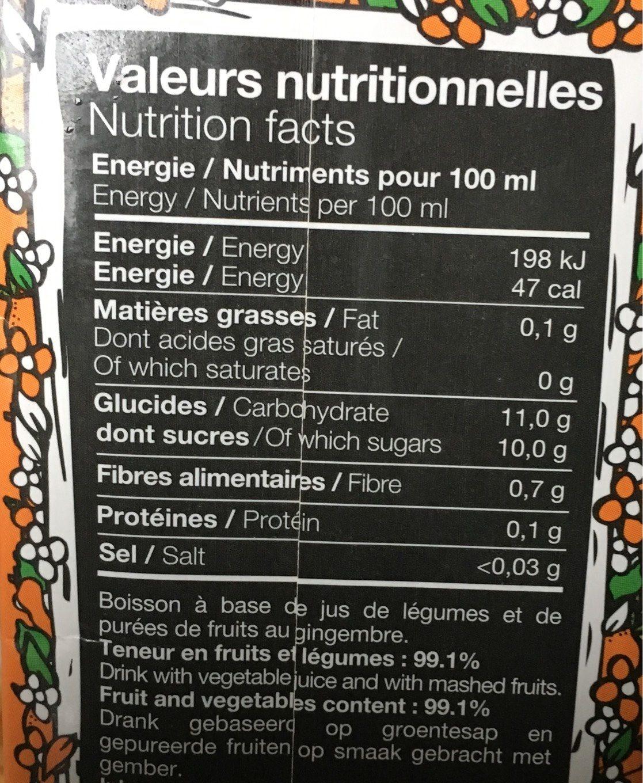 Orange carotte ananas mangue gingembre citron vert - Nutrition facts