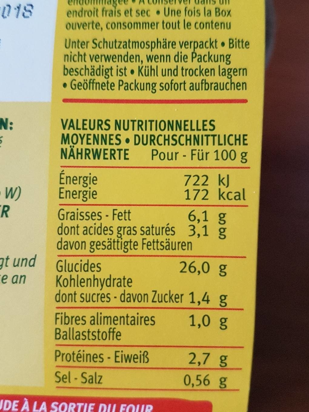 Risotto box - Voedingswaarden