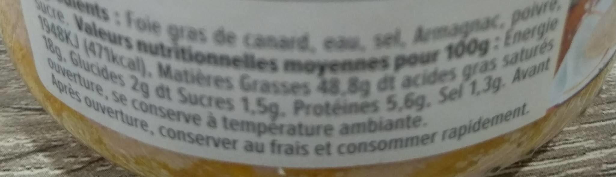 Bloc de foie gras de canard du sud-est - Voedingswaarden - fr