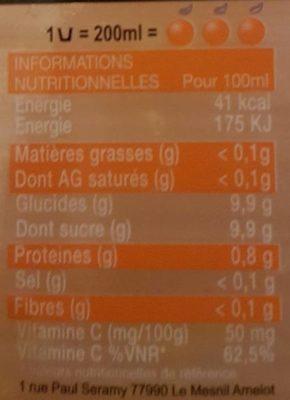 100 % Jus d'Orange Frais - Informations nutritionnelles - fr