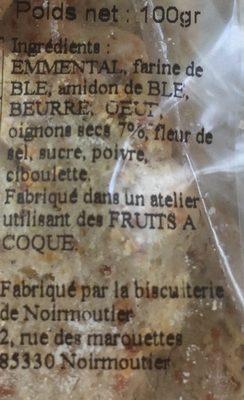 Sables aperitifs oignon ciboulette - Ingrediënten