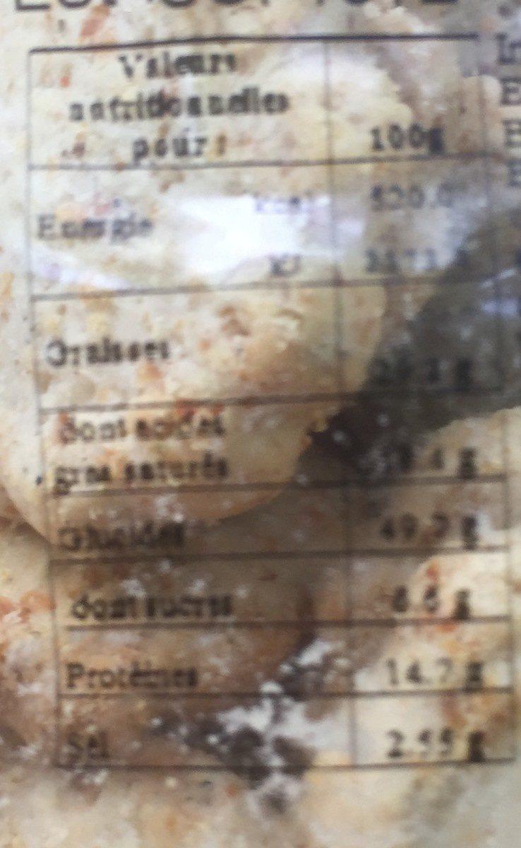 Sables aperitifs oignon ciboulette - Voedigswaarden