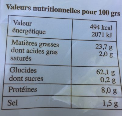 Chips artisanales - Nutrition facts