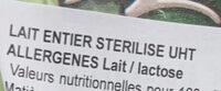 Lait entier stérilisé UHT - Ingredients - fr