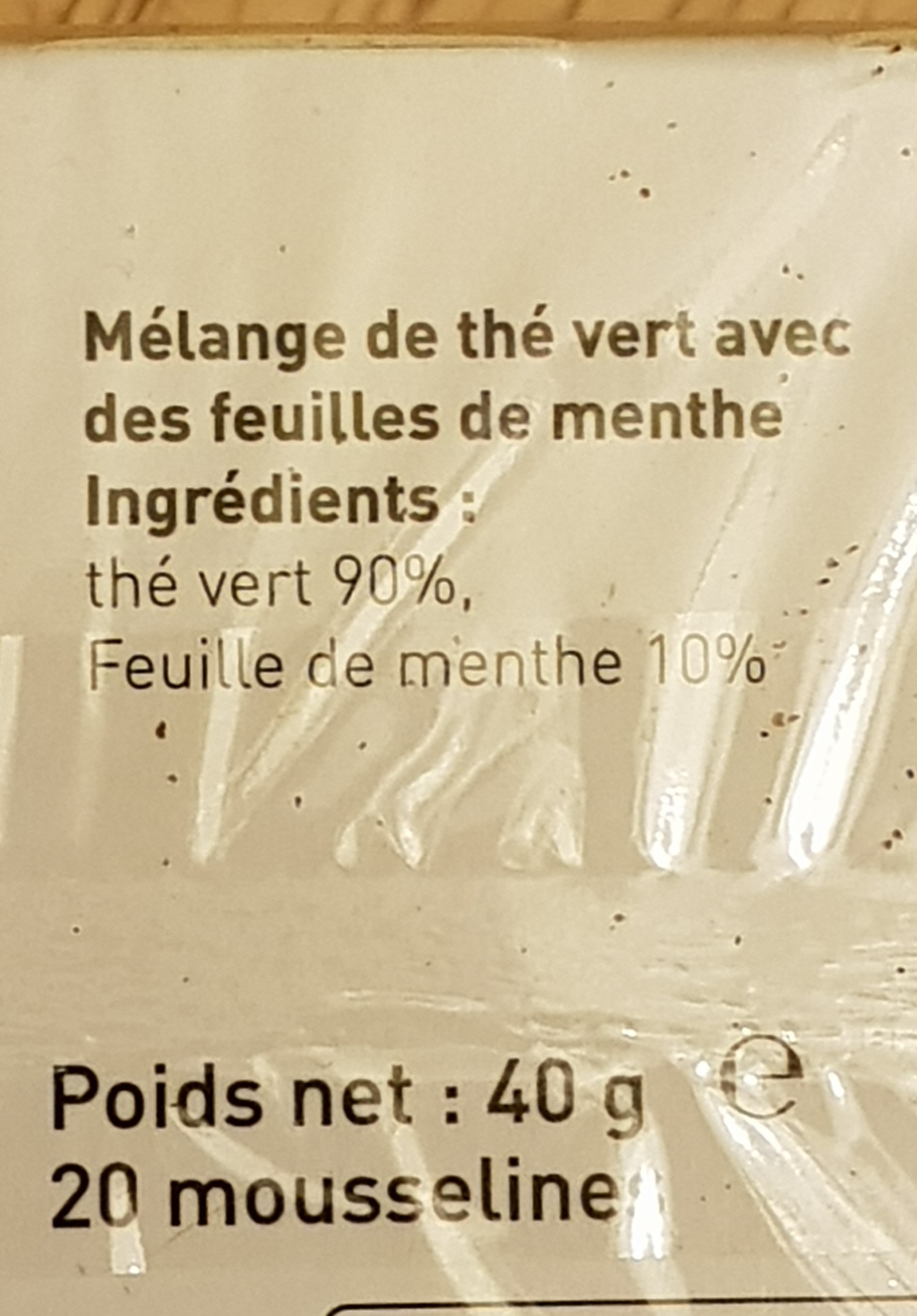 Thé Vert Menthe - Ingredients