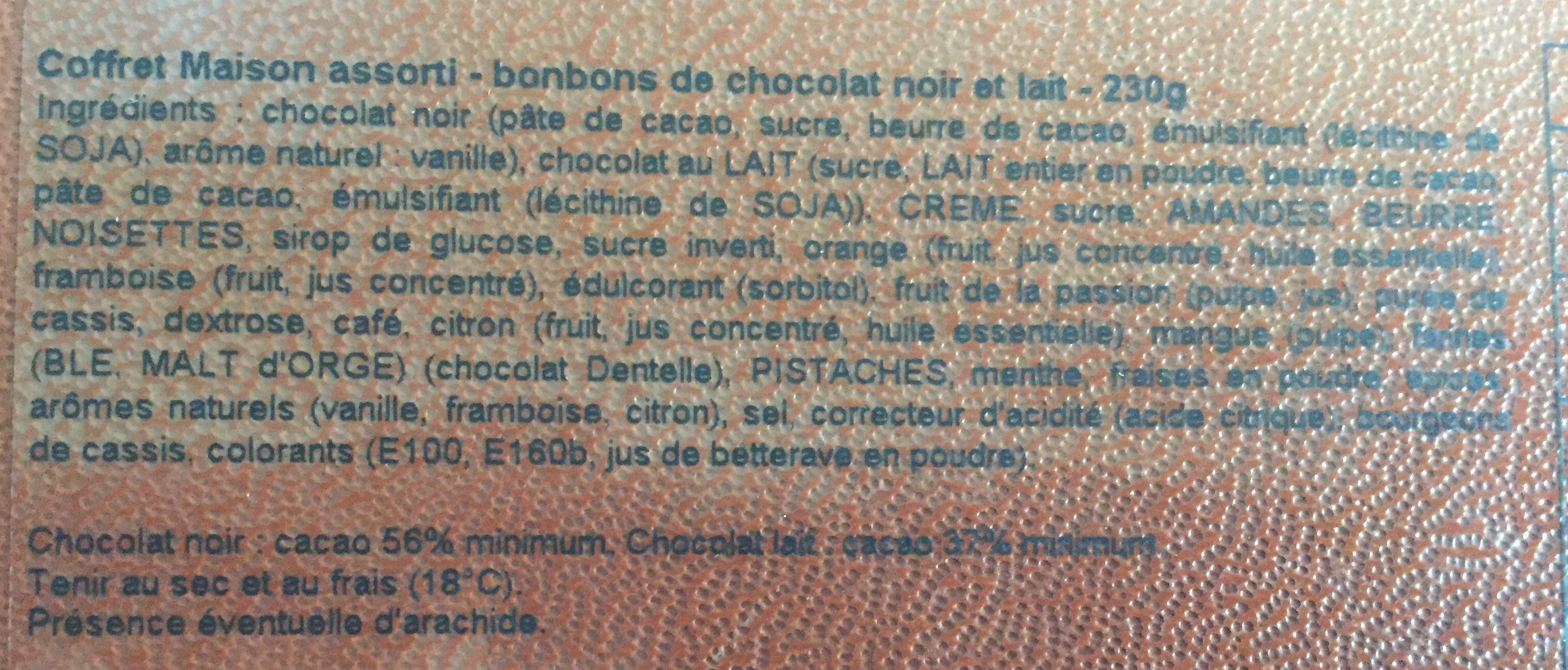 Bonbons de chocolat noir et lait - Ingrédients