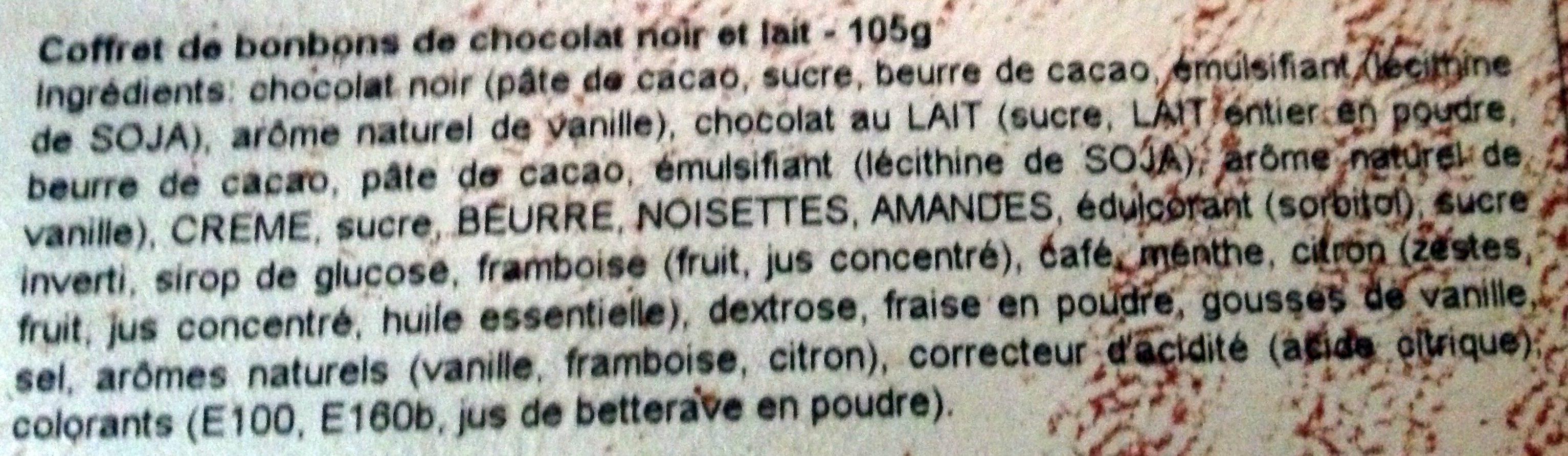 Coffret Maison Noir et Lait - Ingrediënten - fr