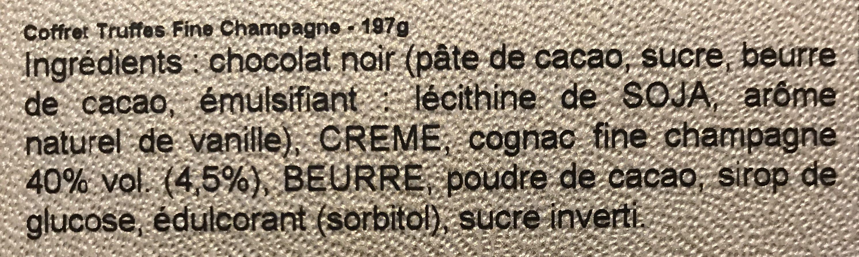 Coffret Truffe Fine Champagne - Ingrédients
