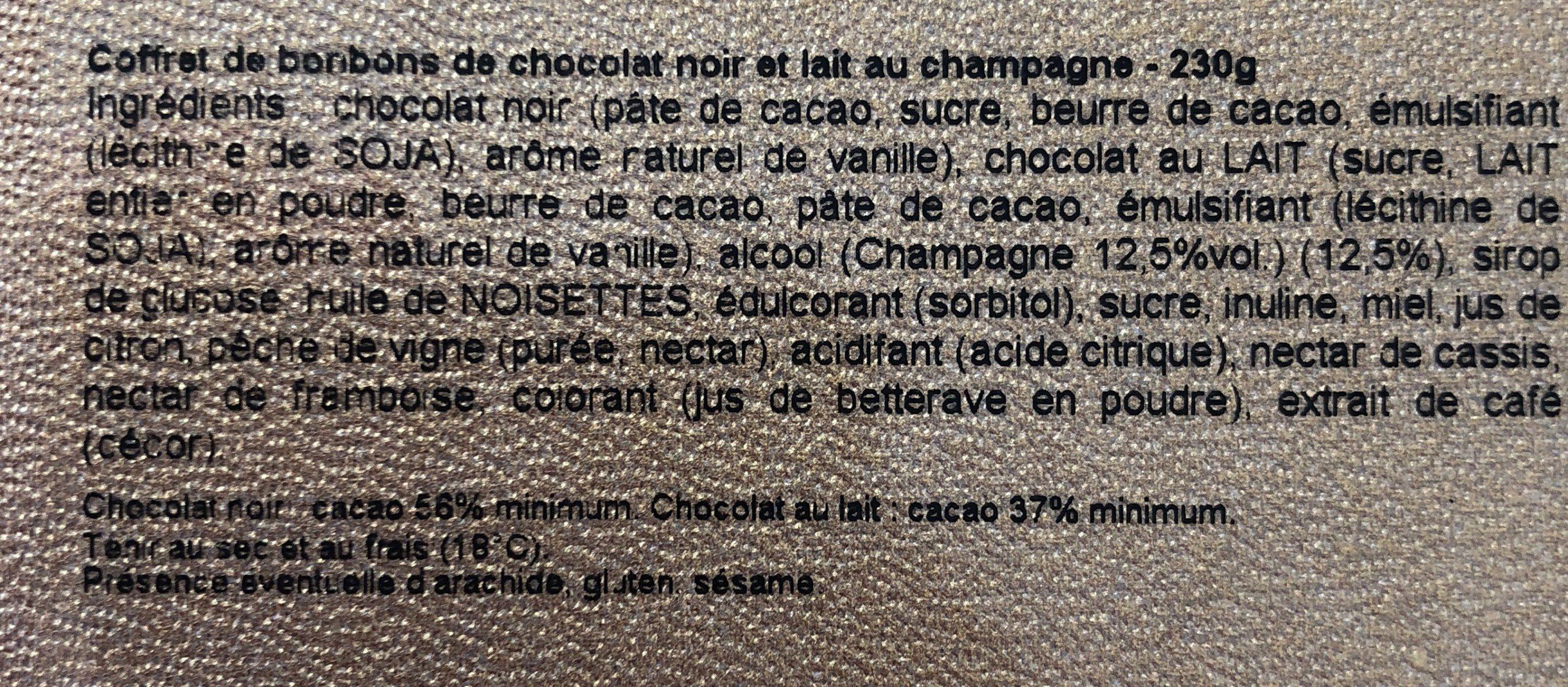 Coffret de bonbons de chocolat noir et lait au champagne - Ingrédients