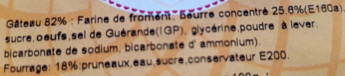 J'Croc - Gâteau Breton Pointe Pruneau - Ingrédients