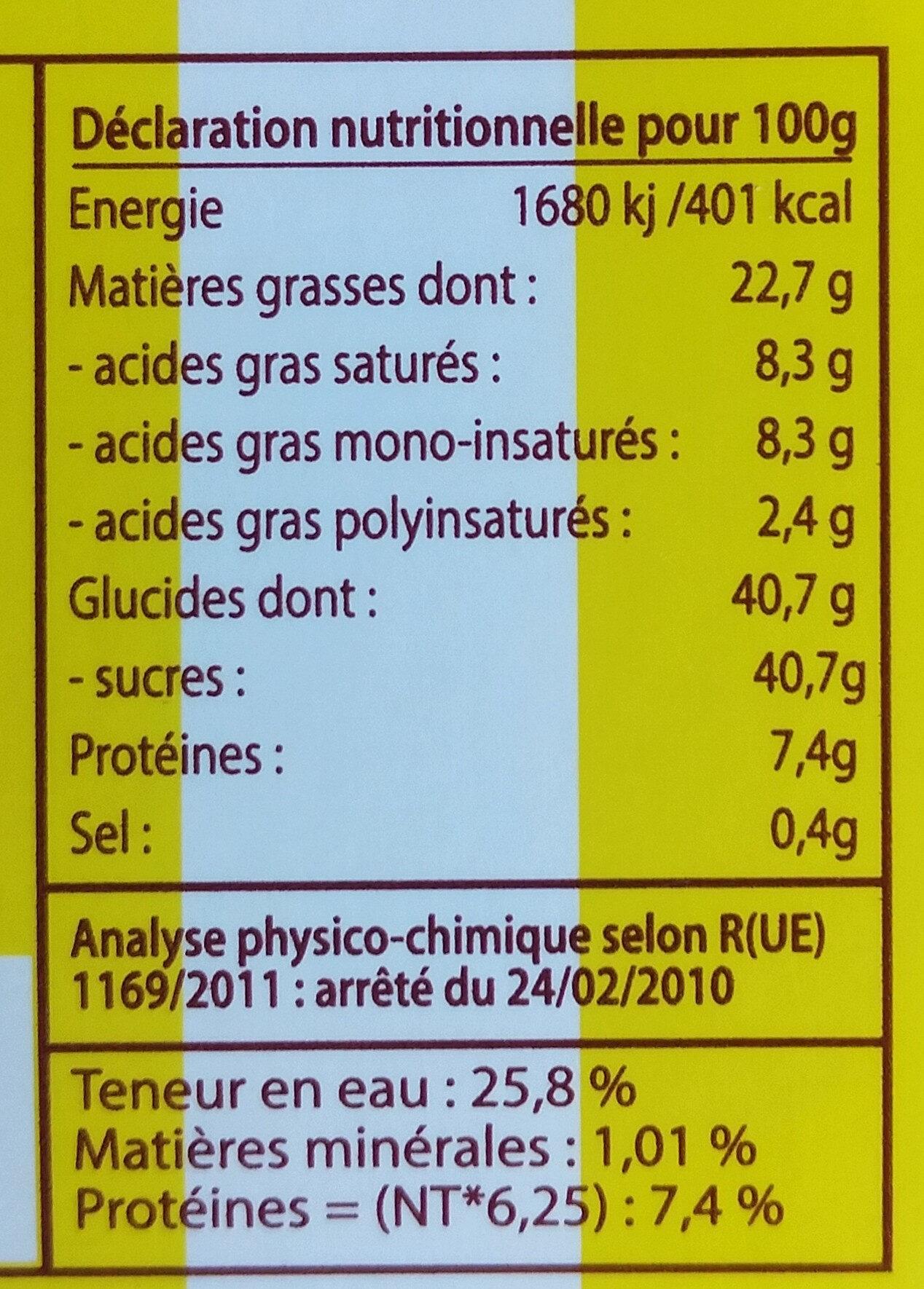 Le Fondant Baulois - Informação nutricional - fr