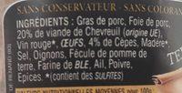 Terrine de chevreuil aux cèpes - Ingrédients - fr