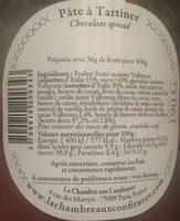 Pâte à tartiner - LA CHAMBRE AUX CONFITURES - Ingredienti - fr