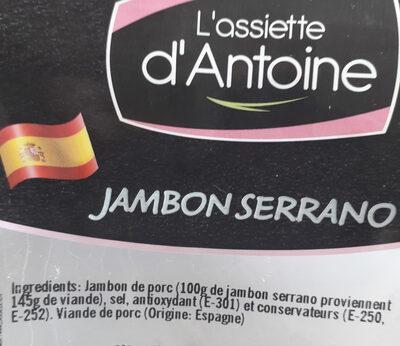 L'assiette d'Antoine - Ingrédients