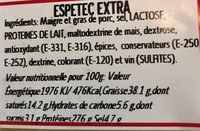 Espetec Extra - Nutrition facts - fr