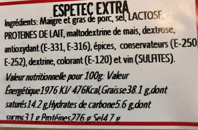 Espetec Extra - Nutrition facts