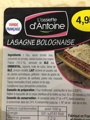 Lasagne bolognaise - Ingrédients