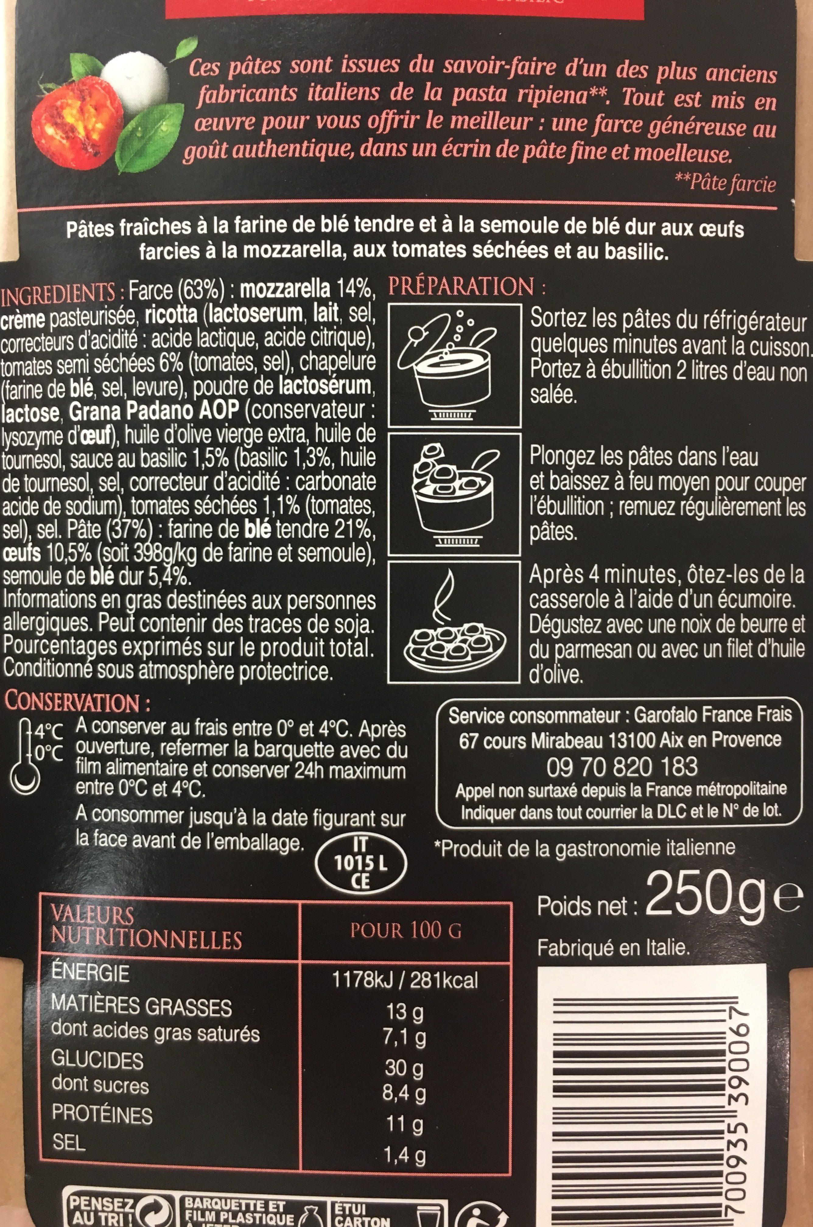 Pates fraiches tomate mozzarella et basilic - Ingredients