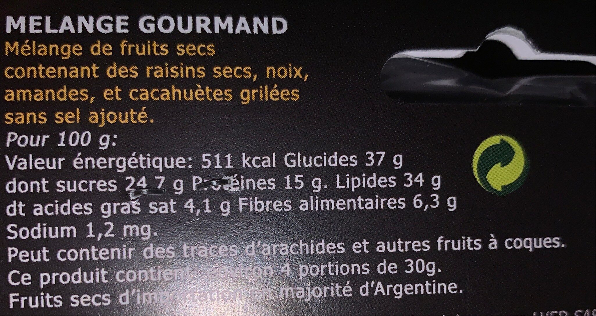 Melange gourmand - Nutrition facts