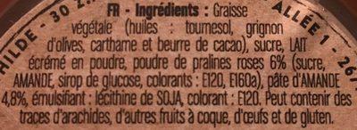 Pâte à tartiner à la praline - Ingrediënten
