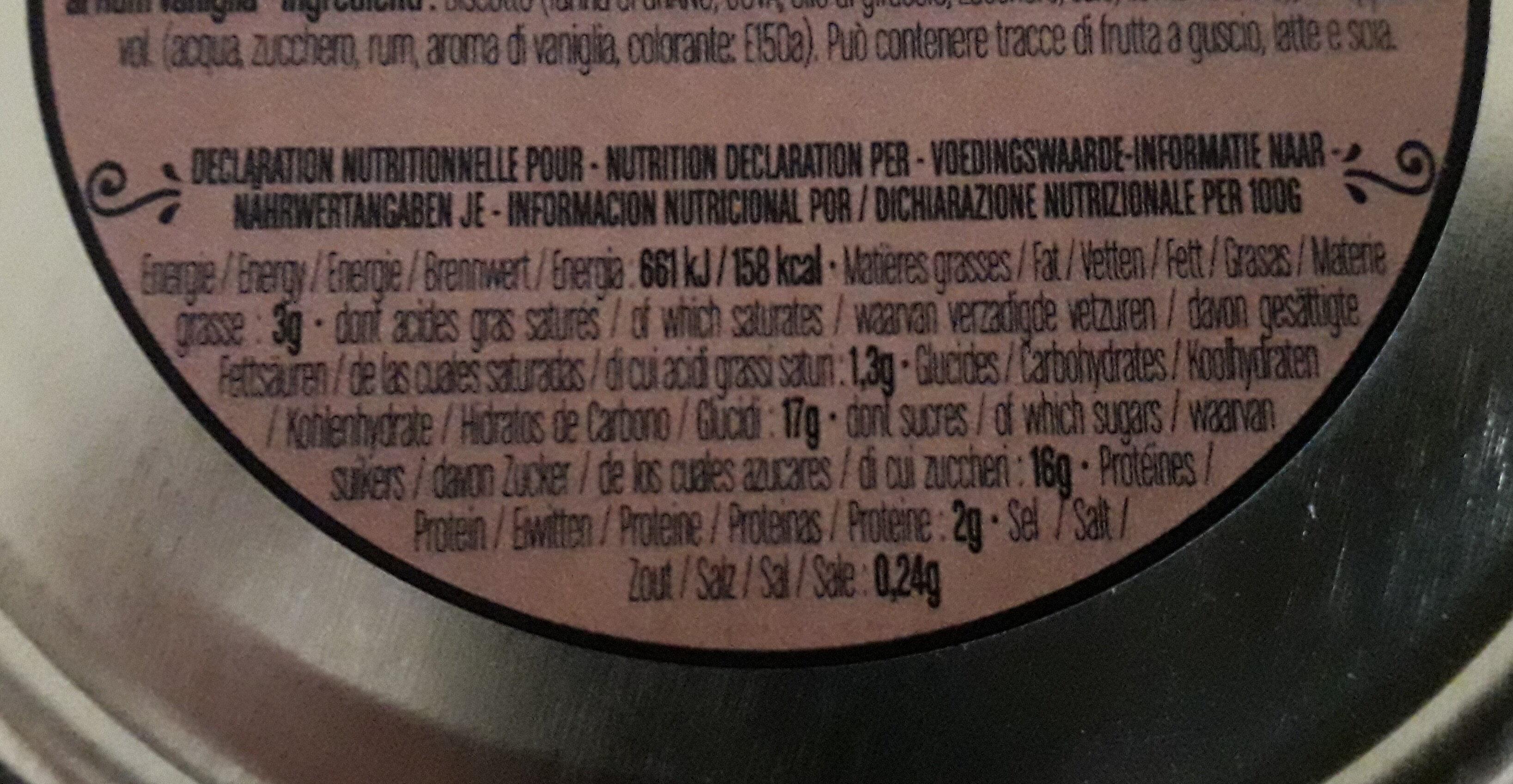 Baba au rhum vanille - Informations nutritionnelles - fr