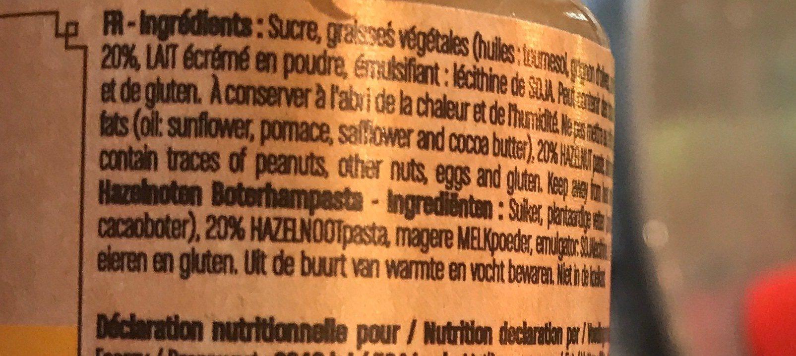Pate a tartiner blanc noisette - Ingrédients
