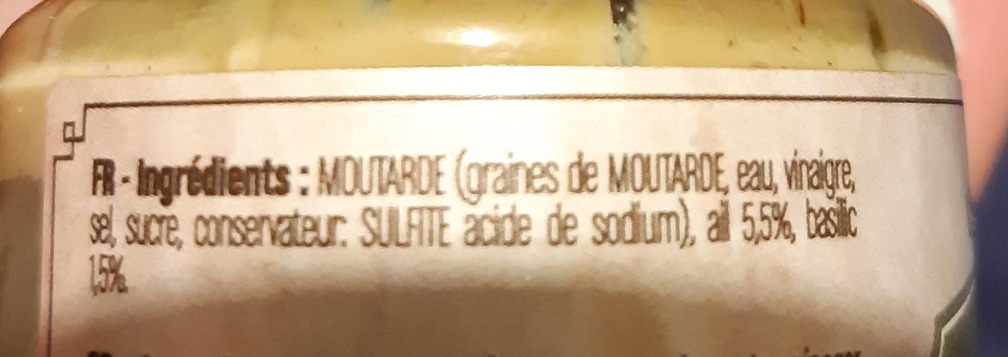 Moutarde ail et basilic - Ingrédients