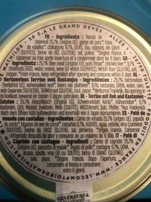 Terrine chevreuil aux chataignes - Ingrédients - fr