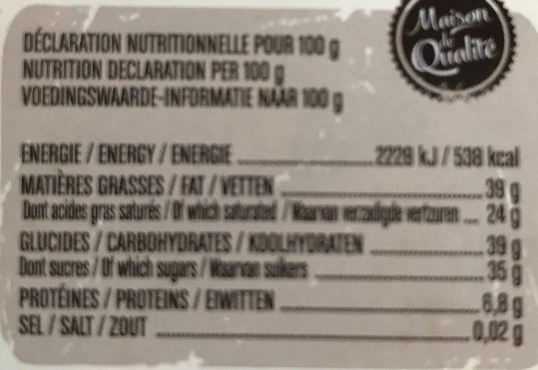 Chocolat - Nutrition facts - fr