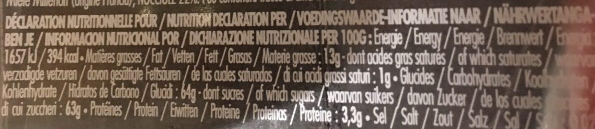 Miel de fleurs et noisettes - Nutrition facts - fr