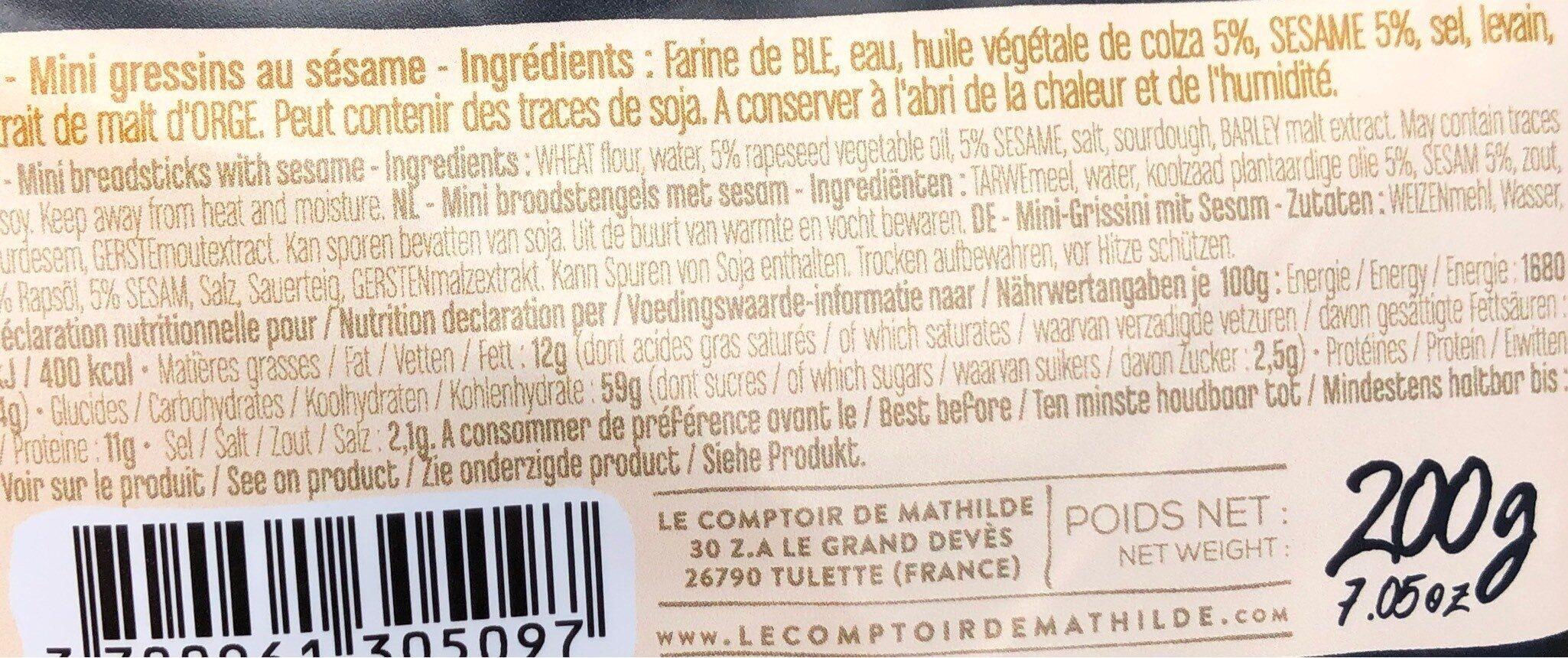 Mini gressins au sésame - Nutrition facts - fr