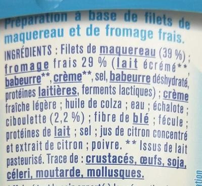 Tartinable Maquereau Fromage Frais & Ciboulette - Ingrediënten - fr