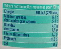 Thon fromage frais et ciboulettes - Voedingswaarden - fr
