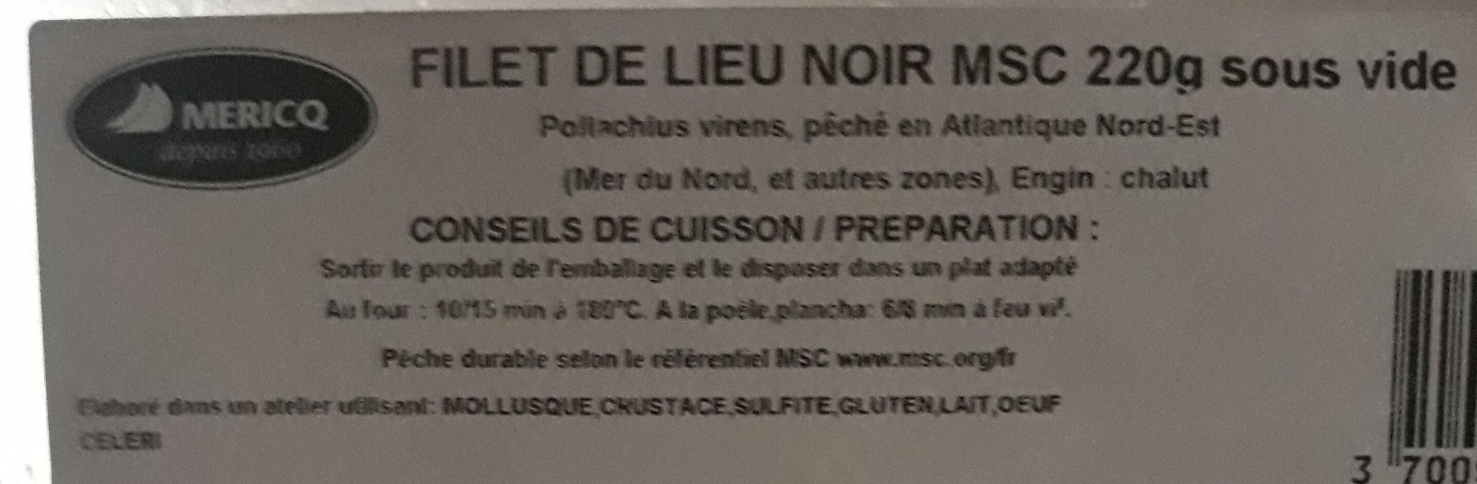Filet lieu noir MSC sous vide - Ingrediënten - fr