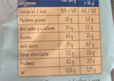 Muesli aux fruits jaunes - Nutrition facts - fr