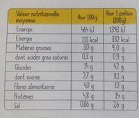 Tajine de légumes aux céréales - Nutrition facts - fr