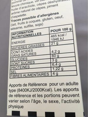 Biscuits sales aux cepes - Informations nutritionnelles