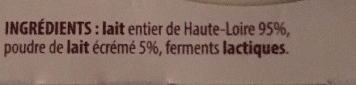 YAOURTS NATURE Au lait de Montagne - Ingredients - fr