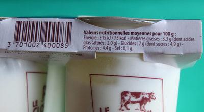 YAOURTS NATURE Au lait de Montagne - Nutrition facts - fr