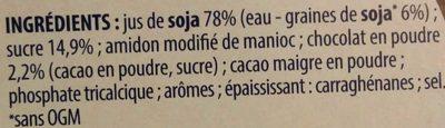 Soja douceur végétale chocolat - Ingrédients