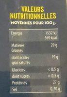 Emmental français râpé - Nutrition facts