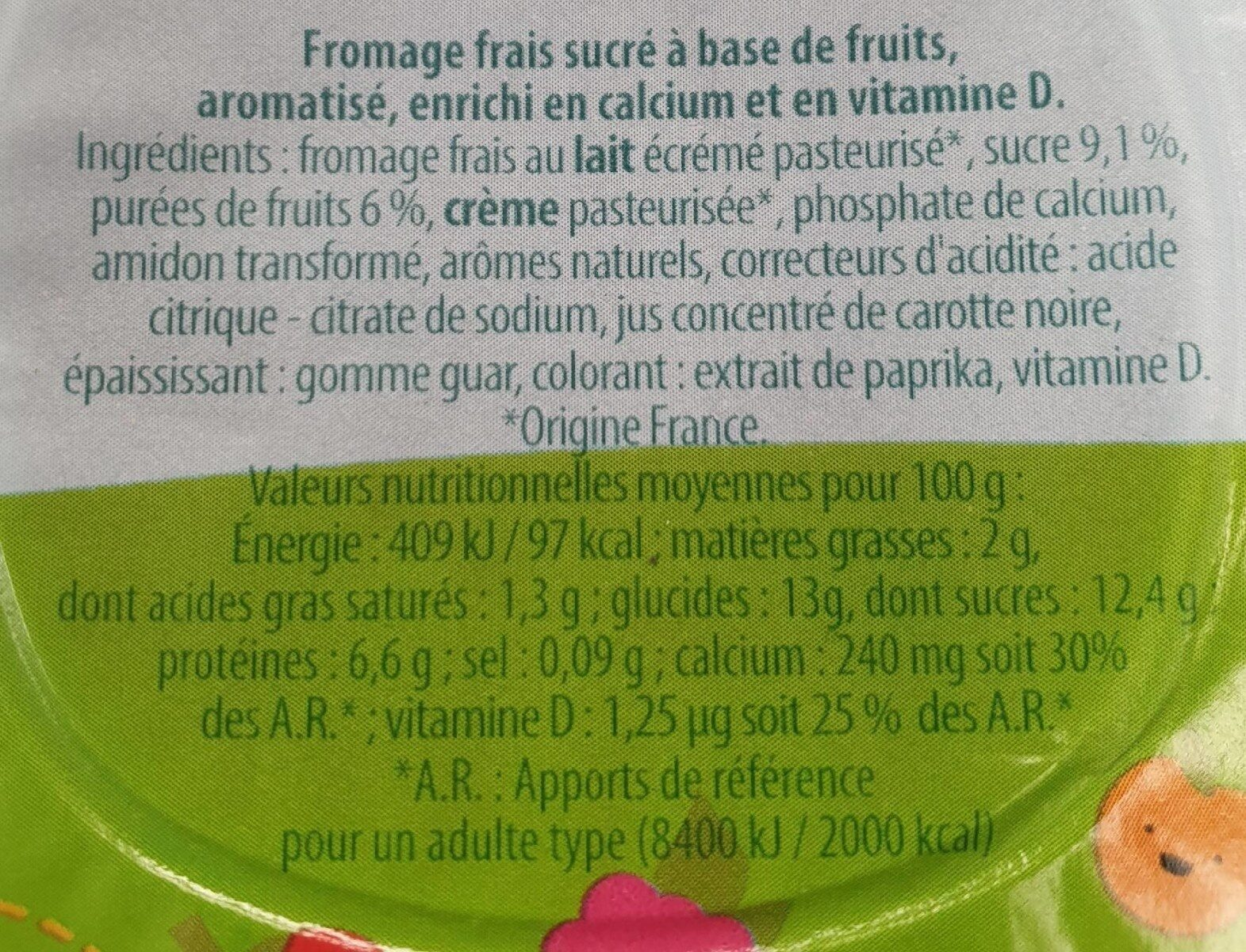 Petits Suisses Bravo Lino - Nutrition facts - fr