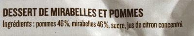Dessert de mirabelle et pommes - Ingrédients - fr