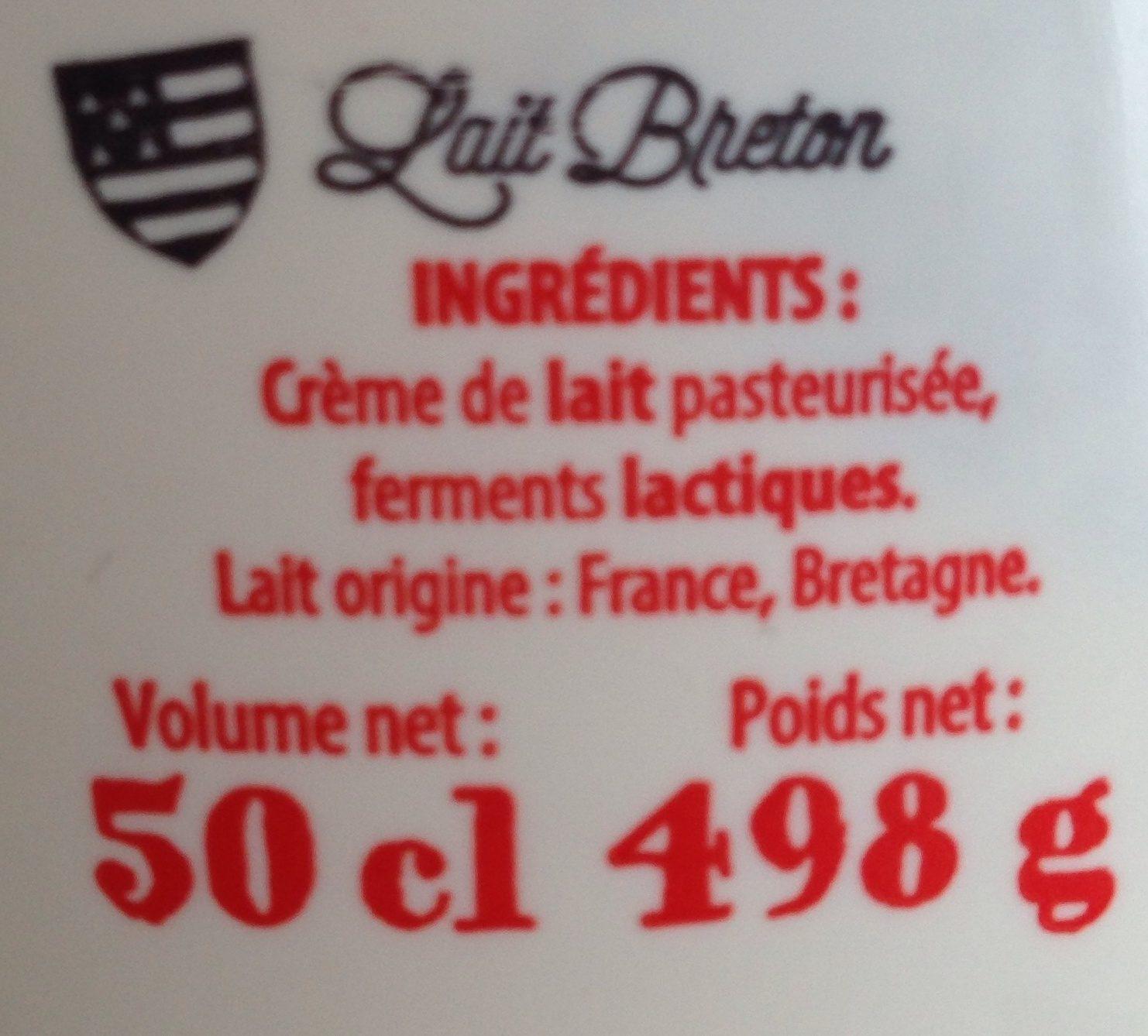 Crème fraîche épaisse - Ingrédients - fr