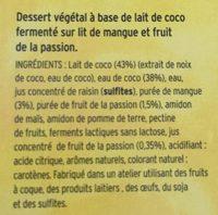 Dessert au lait de coco sur lit de mangue-passion - Ingredients