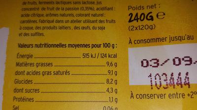Dessert au lait de coco sur lit de mangue-passion - Nutrition facts