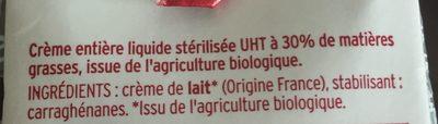 Créme  entière liquide bio - Ingrédients - fr