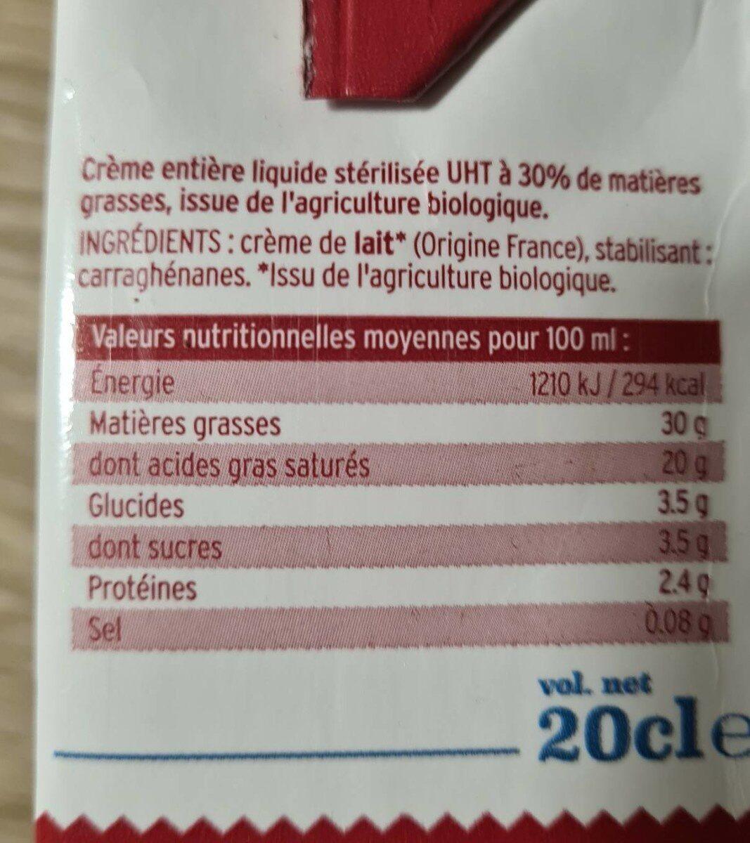 Créme  entière liquide bio - Informations nutritionnelles - fr